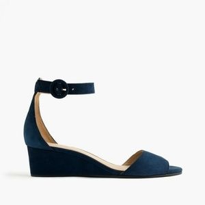 J.Crew Womens Navy Blue Laila Wedges 8